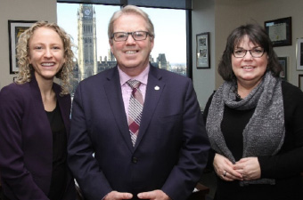 Paula Benbow (Manager of Health Policy), Rodger Cuzner (Cape Breton-Canso), Joanne Noye (Nova Scotia)